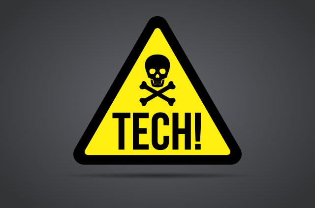 """A warning sign with a skull and crossbones and the word """"Tech""""."""