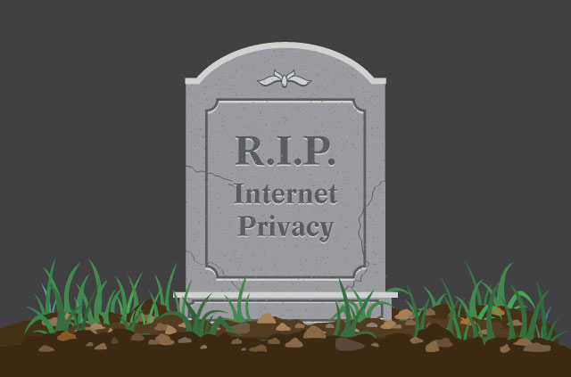 "A gravestone with ""internet Privacy"" engraved upon it."
