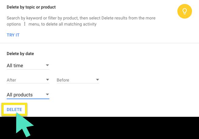 Delete all your Google data
