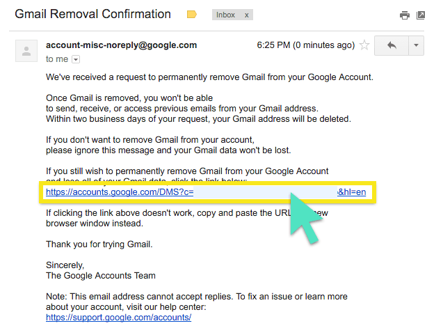 How to permanently delete your google gmail account click the confirmation link ccuart Image collections
