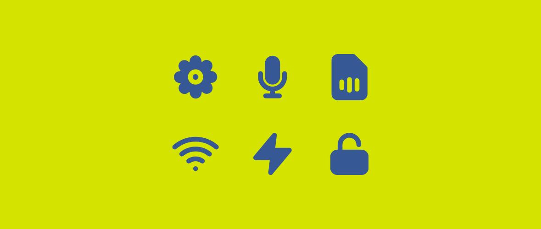 Wi-Fi, microphone, SIM card, settings, charging, and padlock symbols.