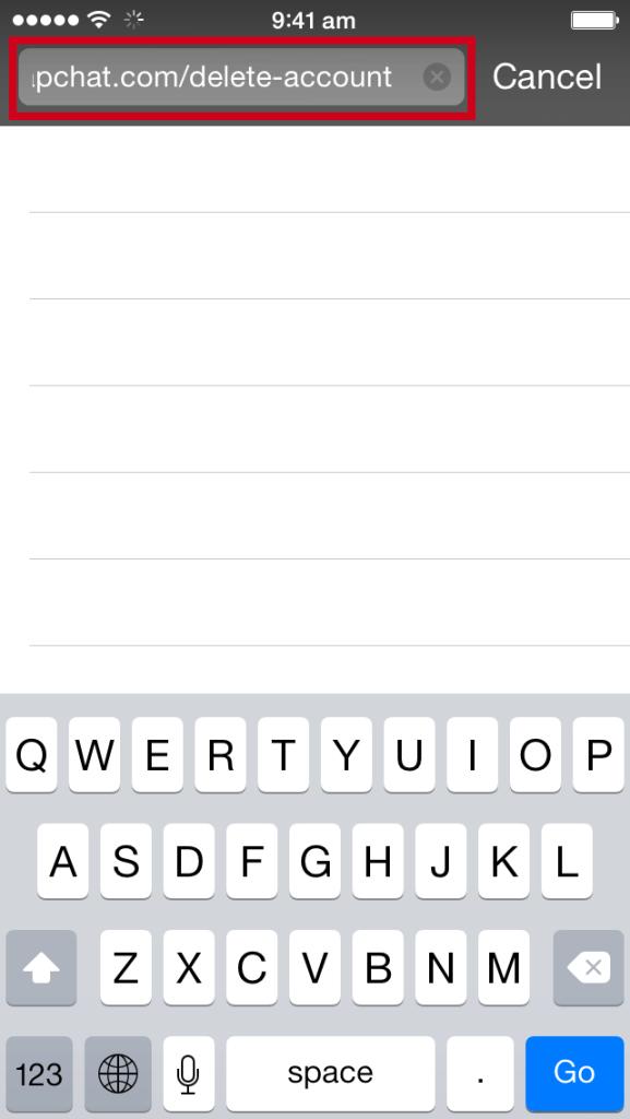 Browser address bar showing delete-account URL.