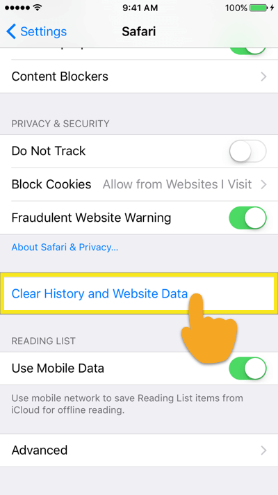 tap on clear history and website data