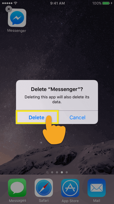 """Delete """"Messenger"""" prompt with Delete button highlighted."""