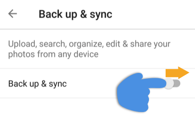 Back up & sync menu showing how to toggle setting to on.