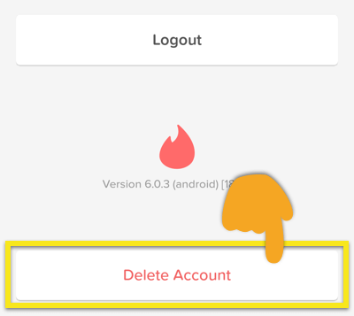 Tinder Settings screen with Delete Account button highlighted.