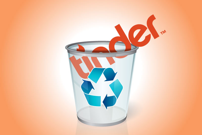 How to delete tinder forever: The Tinder icon in a trash bin.