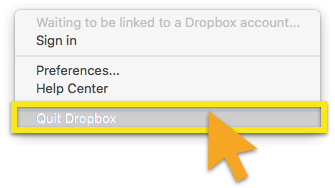 quit dropbox