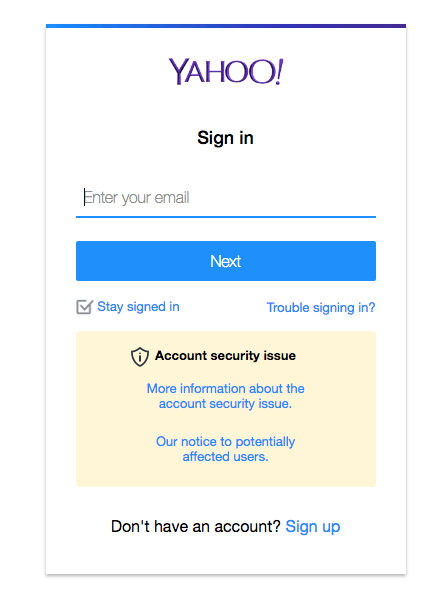 Yahoo sign-in screen.