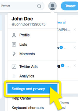"Twitter dropdown menu with ""Settings and privacy"" highlighted."
