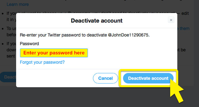 "Twitter's ""Deactivate account"" screen, with ""Deactivate account"" and ""Enter password here"" highlighted."