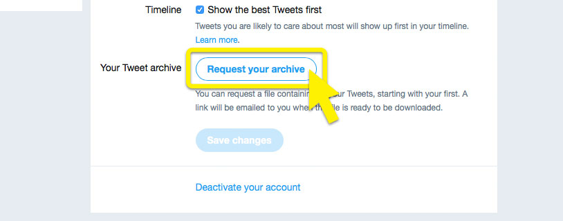 "Twitter settings page with ""Request your archive"" highlighted."