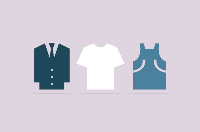 An illustration of a suit, a tee-shirt, and overalls.