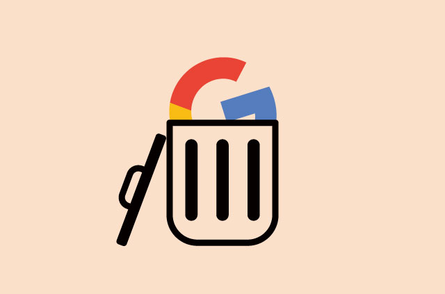 """An illustration of the Google """"G"""" in a trash can."""