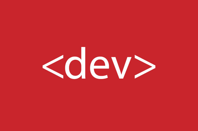 """The word """"dev"""" on a red background."""