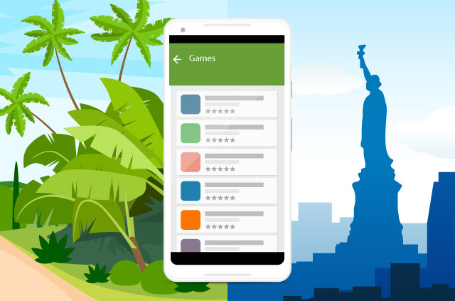 An illustration of an iPhone betwixt a montage which includes the Statue of Liberty and a jungle.