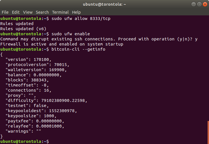 A screenshot of the terminal commands.