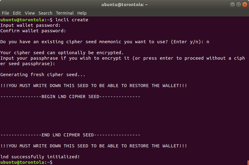 A Terminal screenshot of the cipher seed.