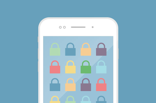 An illustration of a smartphone, but here's the kicker: All the app icons are padlocks!!