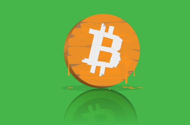 An illustration of a gold coin adorning the Bitcoin logo.