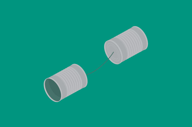 Two cans connected by string.