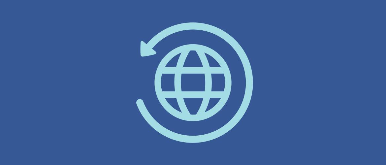 A globe circled by an arrow.
