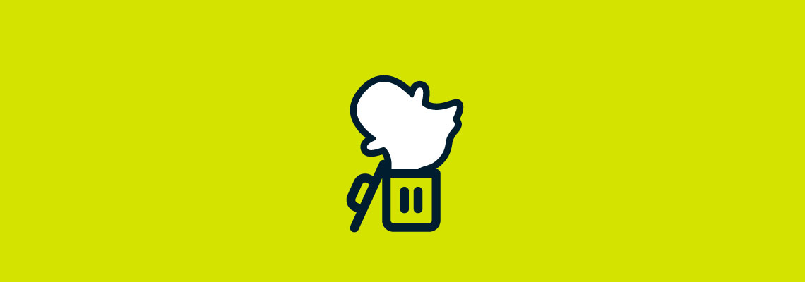 Snapchat logo in trashcan. Learn how to permanently delete your Snapchat account.