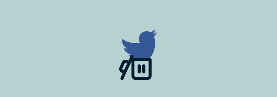 Twitter icon in trashcan. Learn how to permanently delete your Twitter account.