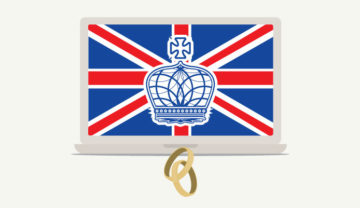 computer with crown and british flag and wedding rings