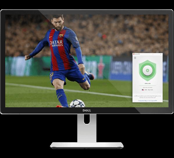 Ecran d'ordinateur avec Messi sur le point de tirer et appli ExpressVPN