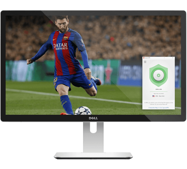 Computer screen with Messi about to shoot with ExpressVPN app showing