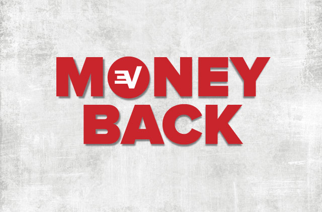 The words money back, but the O is the ExpressVPN logo. Clever.