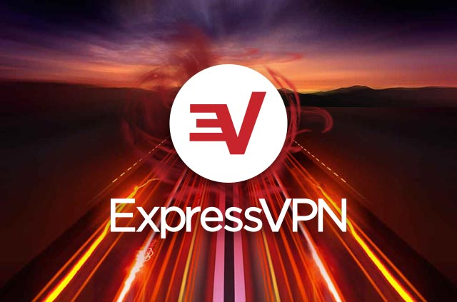 The ExpressVPN logo on a neon highway.