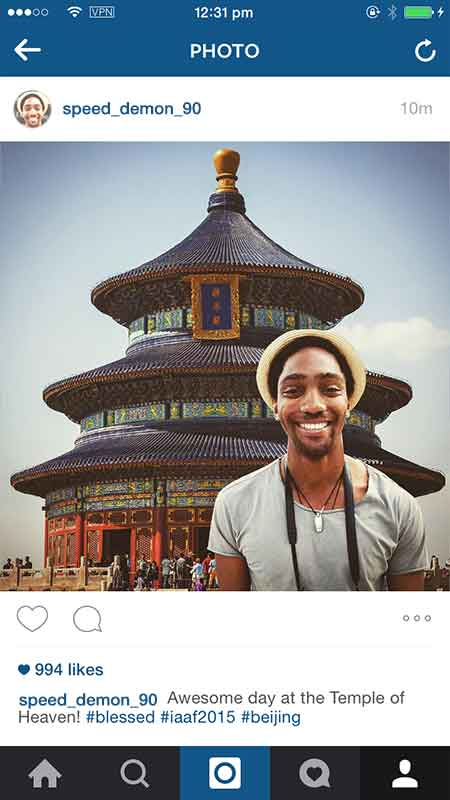 instagram tourists at iaaf worlds