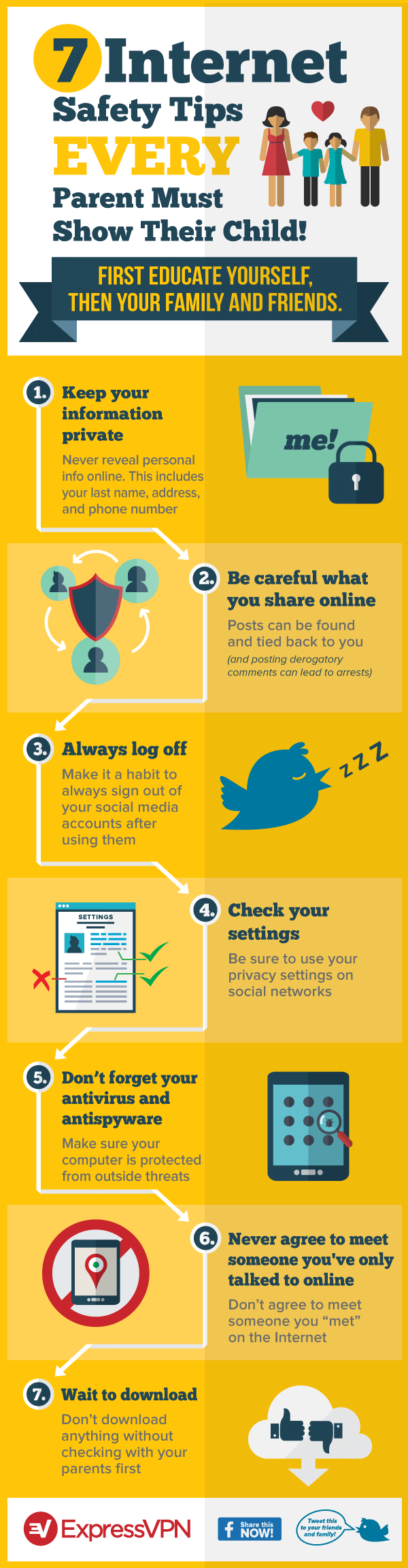7 internet safety tips every parent must show their child - infographic