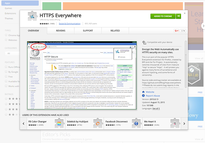HTTPS Everywhere page on the Chrome store
