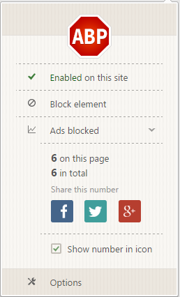 Adblock Plus in action, recording each blocked ad
