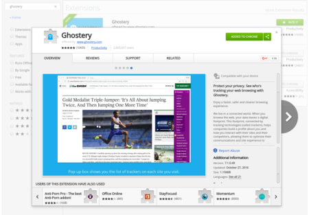 Ghostery anti-tracking page at the Chrome store
