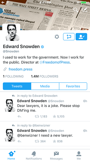 snowden's epic twitter account