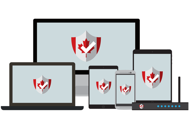A host of devices with a Canadian shield on their screens.