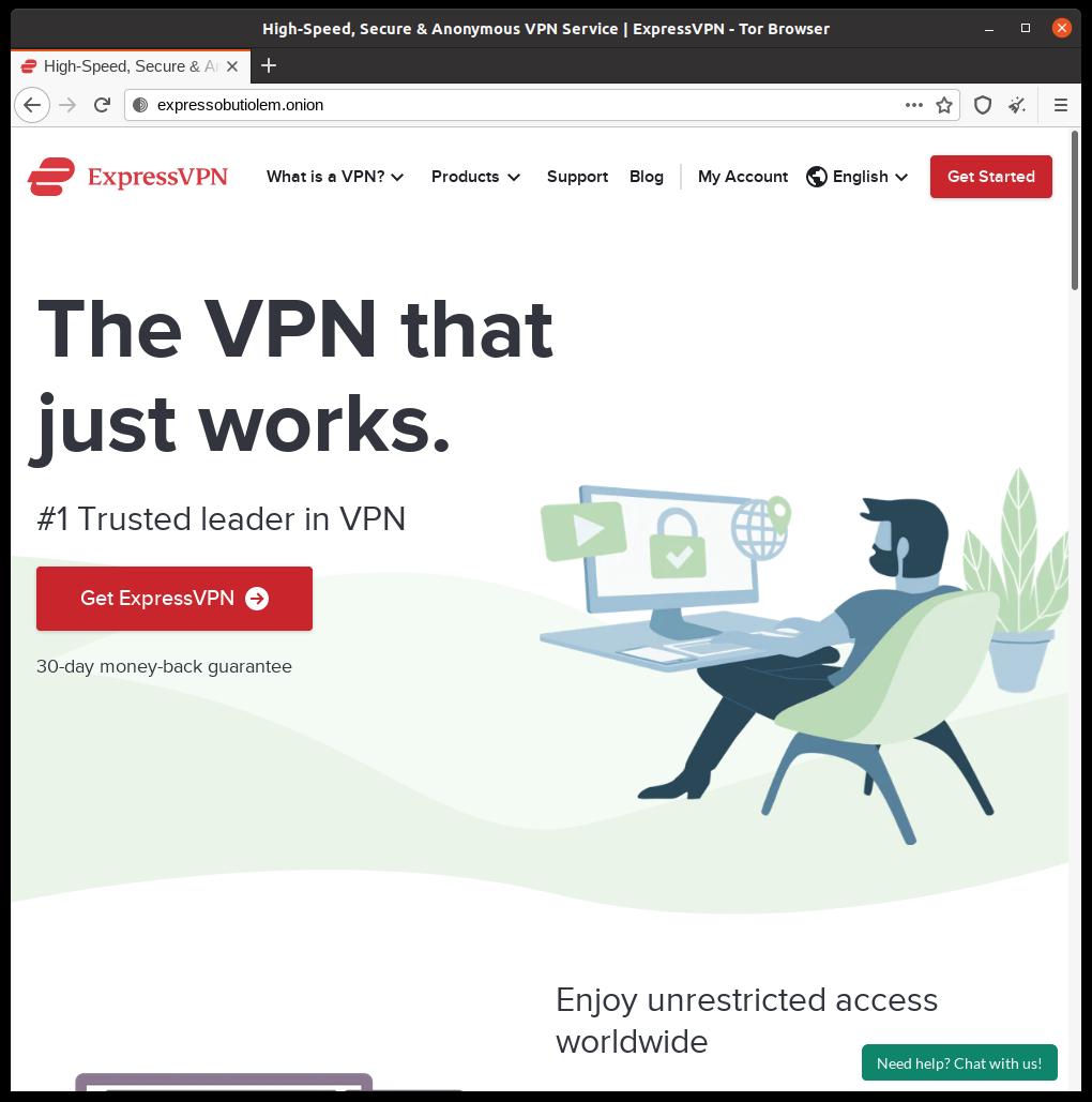 ExpressVPN's onion site homepage screenshot.