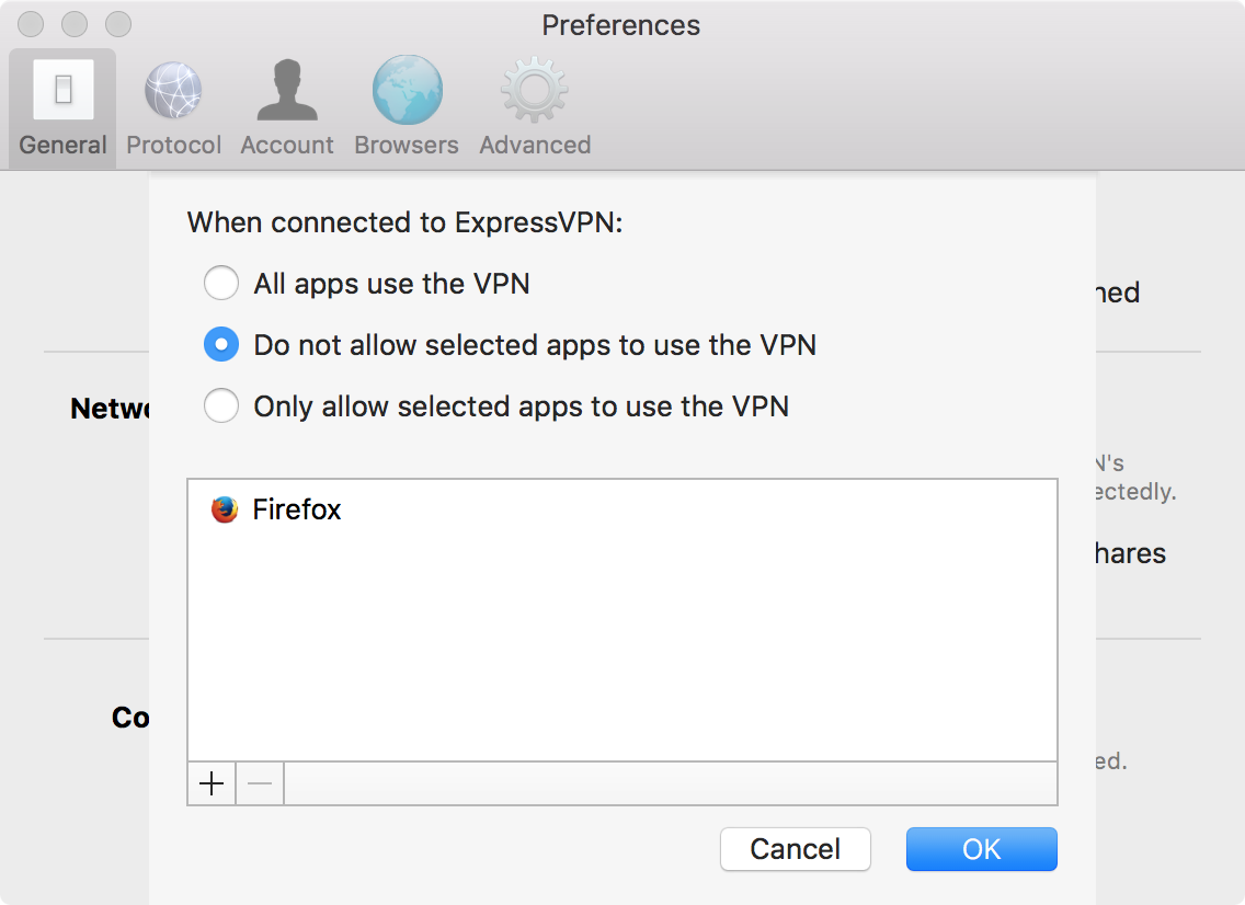 Select which apps don't use a VPN