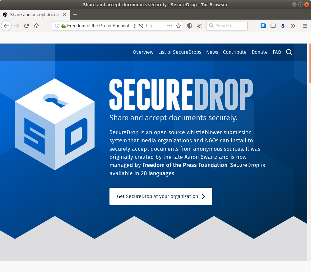 Onion homepage for SecureDrop.