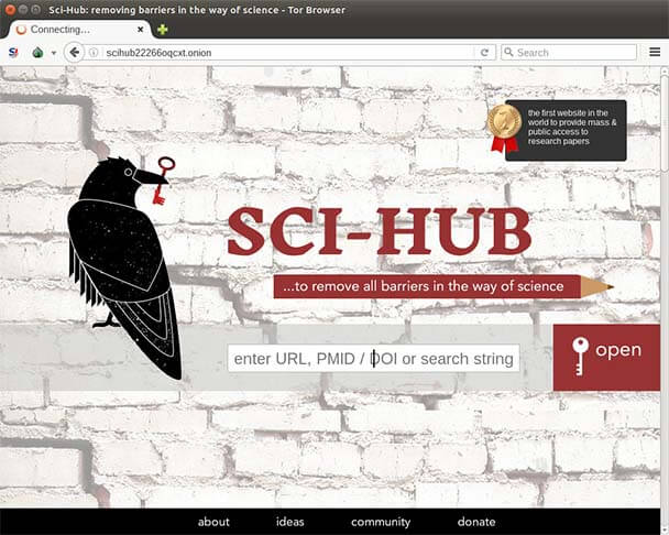 Onion homepage for Sci-hub.