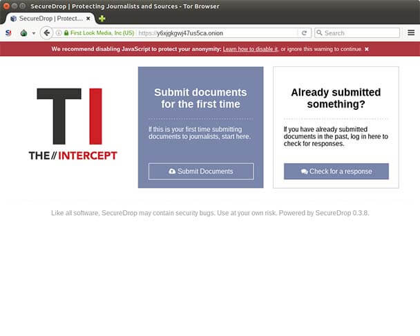 The Intercept is an .onion secure drop with TLS