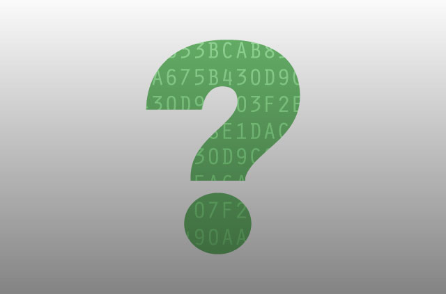 An illustration of a large green question mark. Inside the question mark, there is a stream of letters and numbers to symbolize code (like they did in the Matrix).