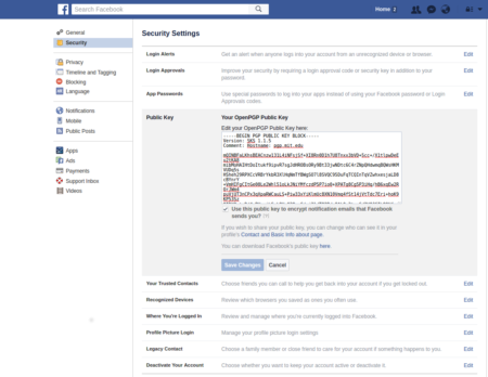 Secure Facebook with a PGP key