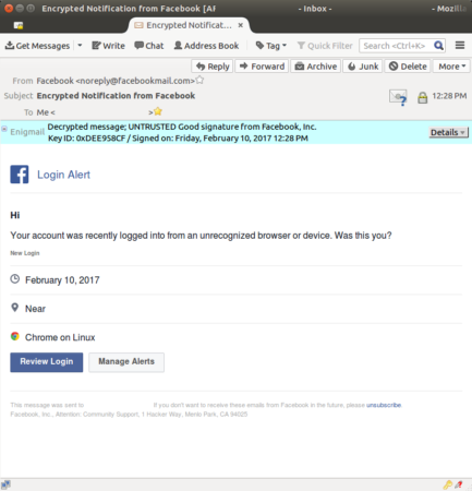 Encrypt Facebook notifications