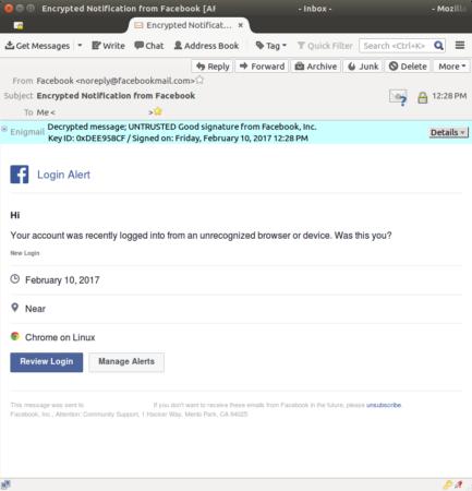 Encrypt Facebook notifications