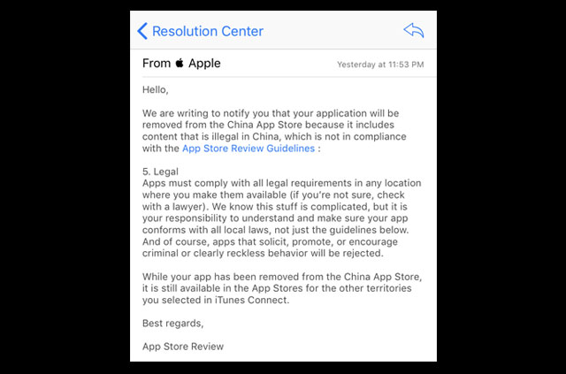 Apple remove VPNs from App Store.